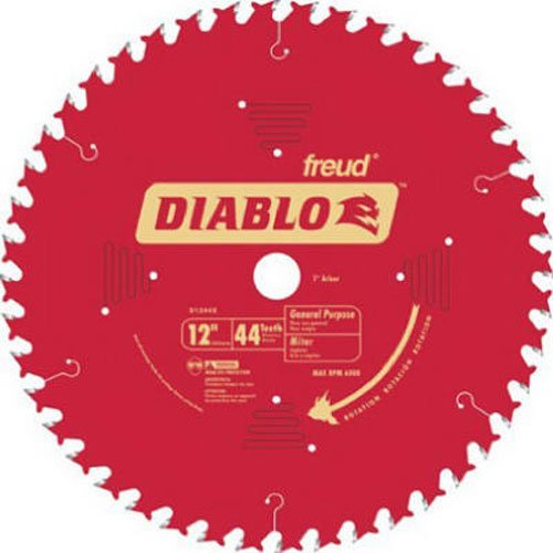 Freud D1244X Diablo 12-Inch 44 Tooth ATB General Purpose Miter Saw Blade with 1-Inch Arbor (Table Saw Blades 12 compare prices)