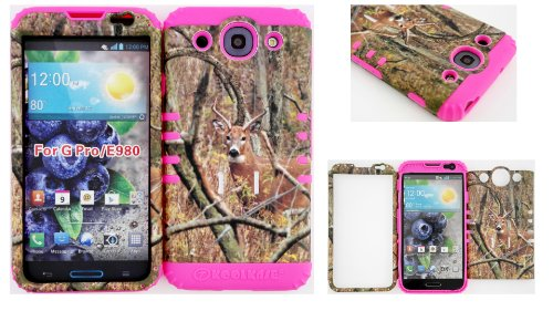Lg Optimus G Pro E980 Real Deer On Camo Mossy Design Hard Plastic Snap On + Pink Silicone Kickstand Cover Case front-567445