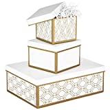 Hallmark Nested Gift Boxes with Lids and Fill (Set of 3, White and Gold, Assorted Sizes) for Weddings, Bridal Showers, Bridesmaids, Christmas, Hanukkah, Birthdays, Valentine's Day (Color: Nesting Boxes, Tamaño: Large)