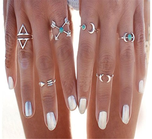 Sunscsc Vintage Silver Arrow Moon Turquoise Joint Knuckle Nail Midi Ring Set of 6 Rings (Silver Turquoise Ring compare prices)