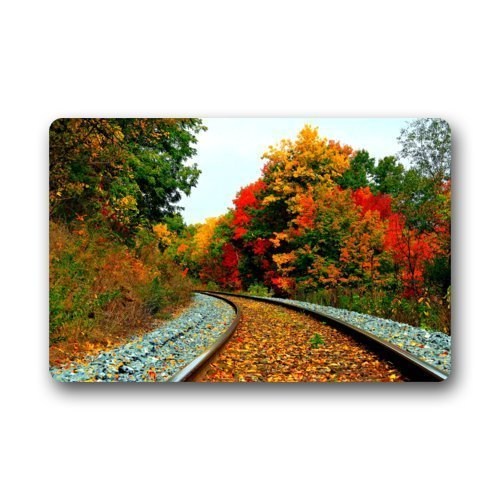 Train Tracks Railroad Decorative Floor Mats Non-Slip Rubber Doormats Door mat,15.7 x 23.6 Inch (Heat Track Mats compare prices)