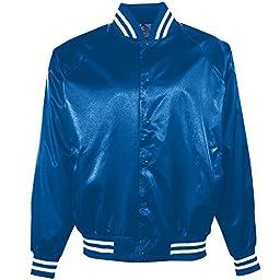 Augusta Sportswear Men\'s Satin Baseball Jacket/Striped Trim 3XL Royal/White