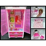 Fat-Catz-Copy-Catz Ensemble de meubles comprenant lit, table et armoire pour chambre de poupée Barbie, poupée non incluse Rose
