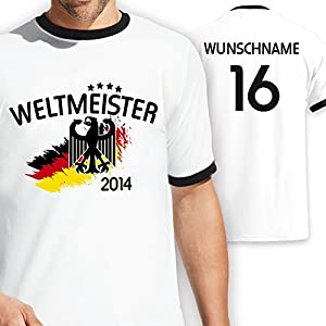 Deutschland Kontrast T-Shirt zur Fussball WM 2014 personalisiert mit eigener Rückennummer und Wunschname Gr. S