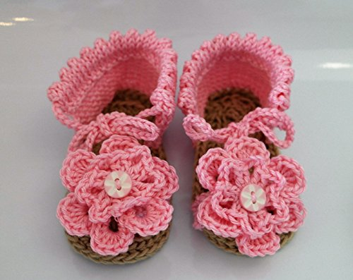 Hand knitted shoes baby girl, pale booties in pink, and unique item hand crafted designed by Grace Designs Deborah, age 6 to 9 months, for that special gift wrapped little one