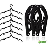 Ipow Pack of 6 (Black) Plastic Foldable Travel Home Camping Mini Non-slip Clothes Shirts Sweaters Dress Hanger Hook Drying Rack