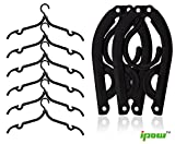Ipow Pack of 6 (Black) Plastic Foldable Travel Home Camping Mini Non-Slip Clothes Hanger Hook Drying Rack