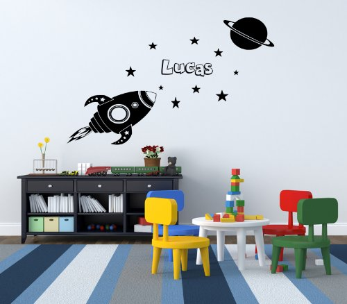 Custom Rocket Space Name Stars Bedroom Wall Sticker Personalised front-884877