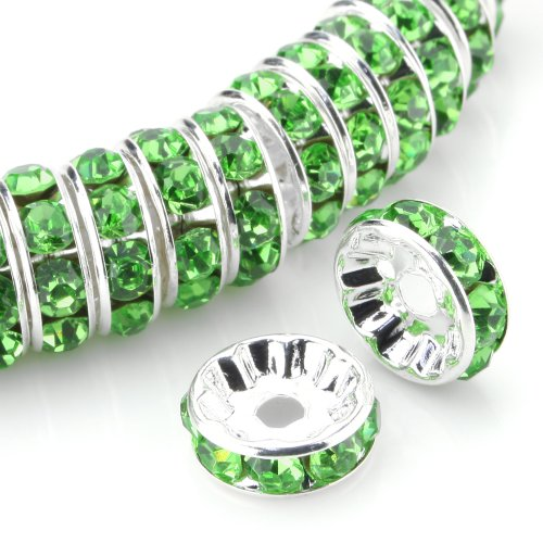 Beadnova 100 Pcs Silver Plated Crystal Rondelle Spacer Beads 8Mm (#214 Peridot)