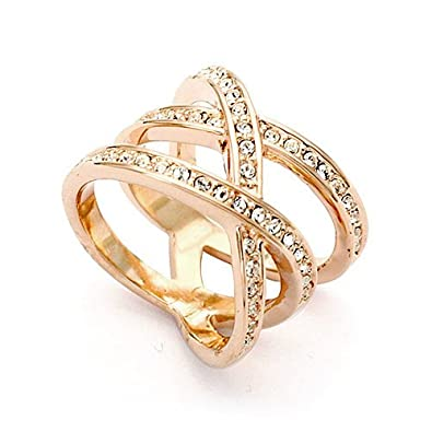 Magic Collection 18k Rose/White Gold Plated Triple Row Cubic Zirconia Crossover Ring