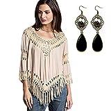 Sitengle Sexy Damen Shirt Netzshirt Bluse V-Ausschnitt Umhang Quaste Hippie Boho Mini Kleider Stickshirt Tops Hoody Jumper