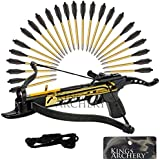 Crossbow Self-Cocking 80 LBS by KingsArchery® with Adjustable Sights, Spare Crossbow String and Caps, and a Total of 27 Aluminim Arrow Bolt Set + KingsArchery® Warranty