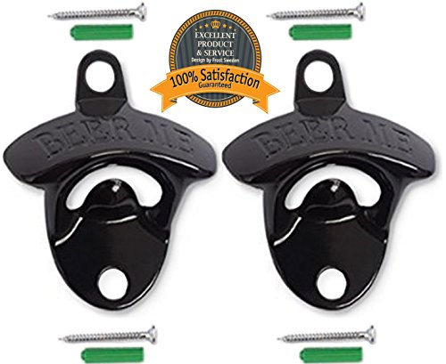 Wall Mounted Bottle Opener (2-Pack) - Beer Bottle Opener For Bartenders & Beer Drinkers - Easy To Open Beer Bottles, Coca Cola Bottles And Other Common Bottles With Cap - Same Function As On The Famous Old Coke Machines - Elegant Design And Easy To Mount