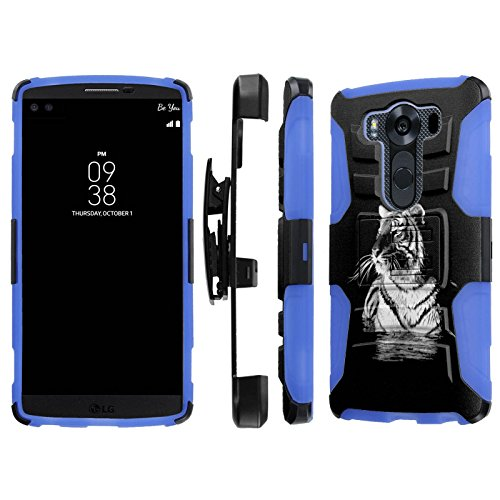 LG V10 / G4 Pro Case, [NakedShield] [Black/Blue] Heavy Duty Holster Armor Tough Case - [White Tiger] for LG V10 / G4 Pro (Blue Tiger Pro compare prices)