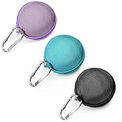 Case Star 3 PCS Assorted Color Round EVA Case Bag for Plantronics BackBeat Go 2 Wireless Hi-Fi Earbud Earphone Earbuds with Case Star Cell Phone Bag (Black+Dark Green+Purple)