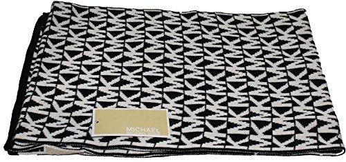 Michael Kors Women'S Mk Logo Knit Scarf, Black /White, One Size front-295787