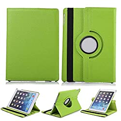 TGK 360 Degree Rotating Leather Case Cover Stand For iPad 4, iPad 3, iPad 2 - Green