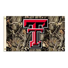 Buy NCAA Texas Tech Red Raiders 3-by-5 Foot Flag with Grommets - Realtree Camo Background by BSI