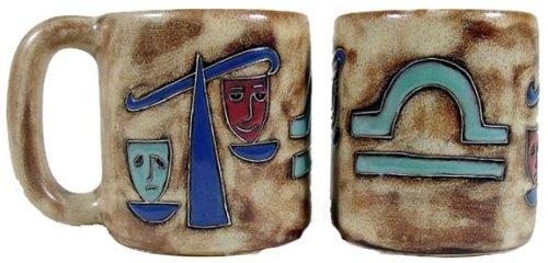 One (1) Mara Stoneware Collection - 16 Oz Coffee Cup Dinner Mug - Zodiac Sign - Libra The Balance Scales Design front-336905