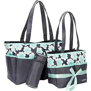 carters 5 piece diaper bag set w floral print grey turq baby. Black Bedroom Furniture Sets. Home Design Ideas