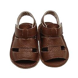 Mejale Baby Soft Soled Leather Moccasins Anti-slip Infant Walker Sandals(3-6 months)