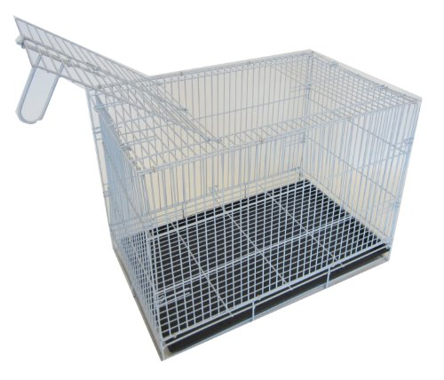 Yml 20-Inch Small Animal Crate With Wire Bottom Grate And Black Plastic Tray, White front-53417