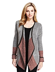 M&S Collection Colour Block Stitch Cardigan with Wool