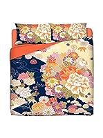 JAPAN MANIA by MANIFATTURE COTONIERE Juego De Funda Nórdica Kimono (Azul/Multicolor)
