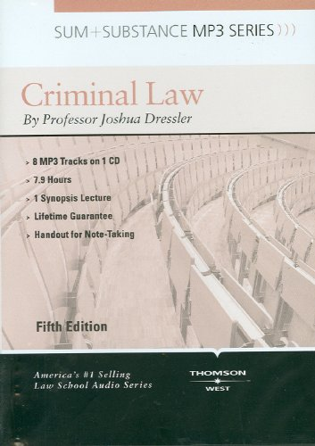 Sum and Substance Audio on Criminal Law, 5th (CD) (Sum + Substance)