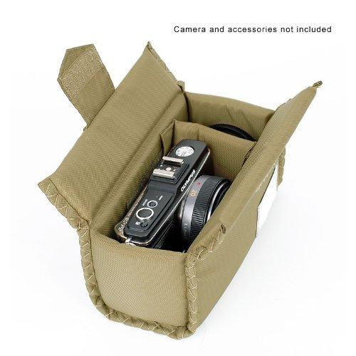 Sony Canon Nikon Olympus Pentax用 キャンバス素材カジュアルカメラバッグ ウエストポーチ 一眼レフカメラバッグ 200*100*130mm アーミーグリーン