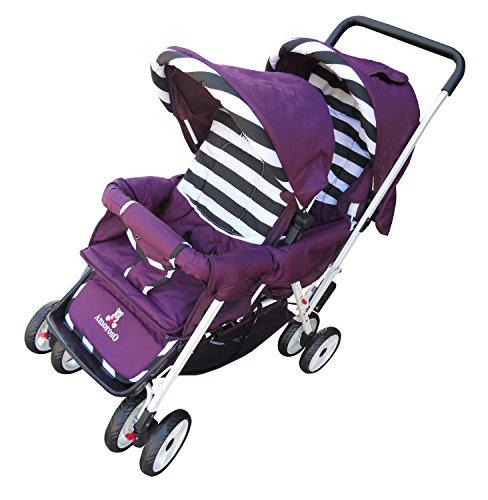AmorosO Deluxe Double Baby Stroller, Purple