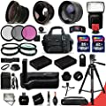 Mega Pro 34 Piece Accessory Kit for Nikon D5300, Nikon D5200, Nikon D5100 DSLR Cameras Includes 58mm High Definition 2X Telephoto Lens + 58mm High Definition Wide Angle Lens + Ring Adapters that enable fitting lenses from 46-58mm + Multi Power Battery Gri