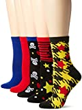 Betsey Johnson Women's Sculls/Stars Patterned Crew Socks 5 Pack, Cherry, 9-11