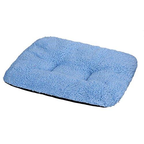 Perman Puppy Blanket Pet Cushion Dog Cat Cotton Carpet Bed Soft Warm Sleep Mat (Blue )