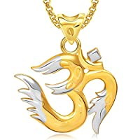 Meenaz Om Ganesha Ganpati Pendant,Locket Gold Plated Cz With Chain In God Pendant In Amreican Diamond For Man & Women GP286