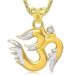 Meenaz Om Ganesha Ganpati Pendant,Locket Gold Plated Cz With Chain In God Pendant In Amreican Diamond For Man & Women GP286