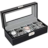 Songmics 5 Mens Watch Box Black Leather Watch Case Glass Top Watch Display Organizer UJWB001