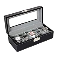 Songmics 5 Mens Watch Box Black Leath…