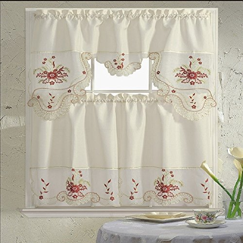 B&H Home Blossom Floral Embroidered 3-Piece Kitchen Curtain Window Treatment Set (Blossom Flower) (Flower Kitchen compare prices)