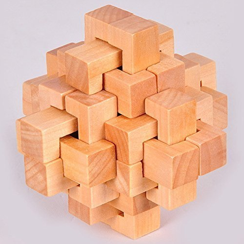 KINGOU Wooden 24 Unlock Interlocking Brain Teaser Puzzle Game Logic Burr Puzzles - 1