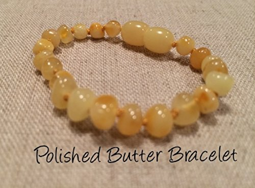Baltic Amber Teething Bracelet For Babies And Toddlers Polished Butter Certified Authentic. Anti-Inflammatory, Reduction Of Drooling, Red Cheeks, Teething Pain. Highest Quality front-835705