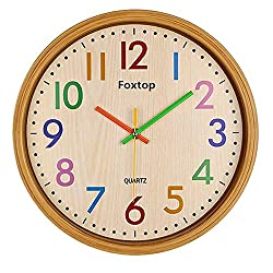 Foxtop 12.5 Inch Colorful Wall Clock Large Decorative Vintage Round Country-Style Silent Non-ticking Imitation-Wood Clocks