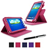 """rooCASE Samsung Galaxy Tab 3 7.0 Case - Dual View Multi-Angle Stand Tablet 7-Inch 7"""" Cover - MAGENTA"""