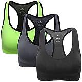 Mirity Women Racerback Sports Bras - High Impact Workout Gym Activewear Bra Color Black Grey Green Size M