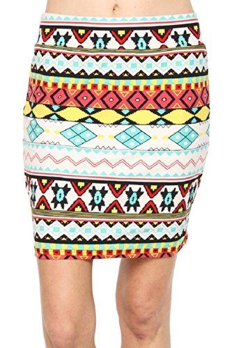 Missy Le Mieux Casual Black White Aztec Cotton Skirt Ankle Length Plus