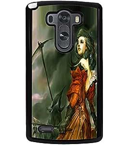 ColourCraft Warrior Girl Design Back Case Cover for LG G3