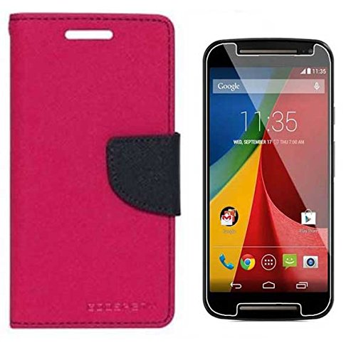 Uni Mobile Care Motorola Moto G (2nd gen) Flip Cover With Tempered Glass Screen Protector