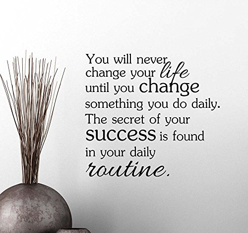 You will never change your life until you change something you do daily fitness quote wall decal sticker nursery vinyl saying lettering wall art inspirational sign wall decor