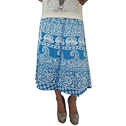 ShopMore Cotton WrapAround Skirt(Blue_FreeSize)