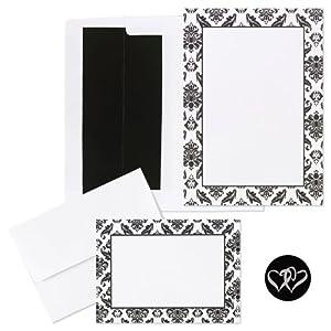 Wedding Invitation Kit White/Black Damask 50 ct
